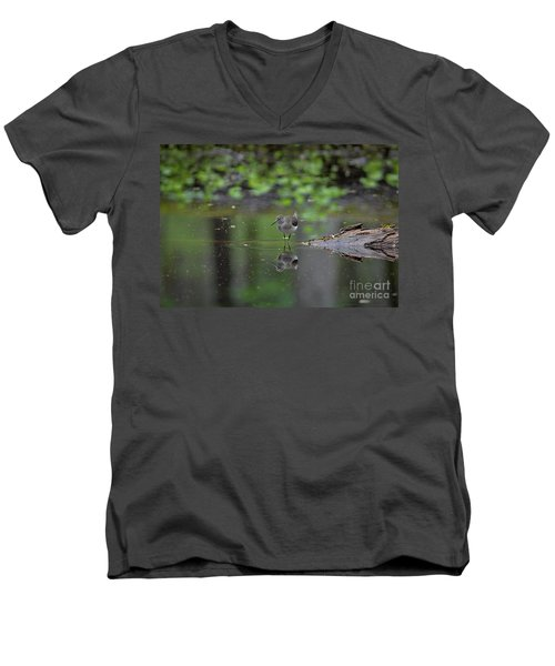 Men's V-Neck T-Shirt featuring the photograph Sandpiper In The Smokies by Douglas Stucky