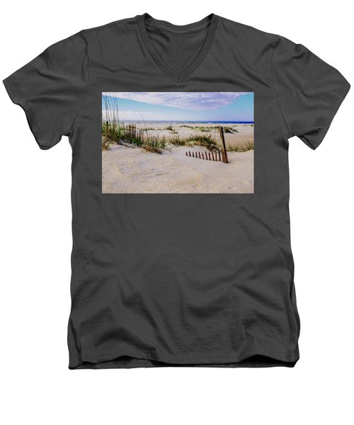 Sand  Fences On The Bogue Banks 2 Men's V-Neck T-Shirt by John Harding