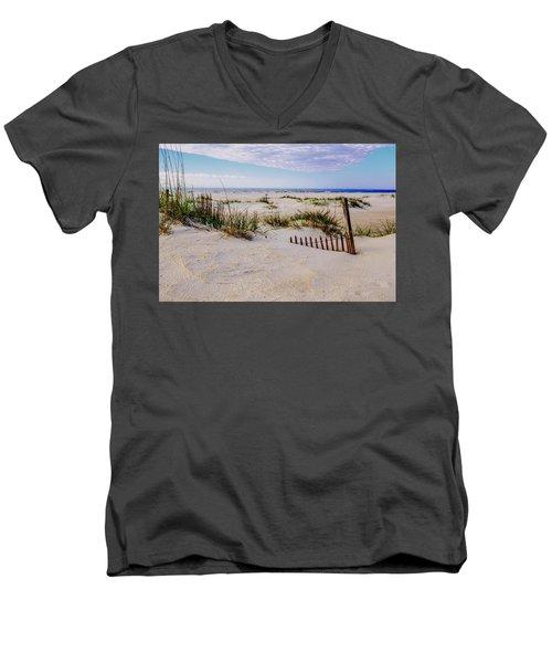 Sand  Fences On The Bogue Banks 2 Men's V-Neck T-Shirt