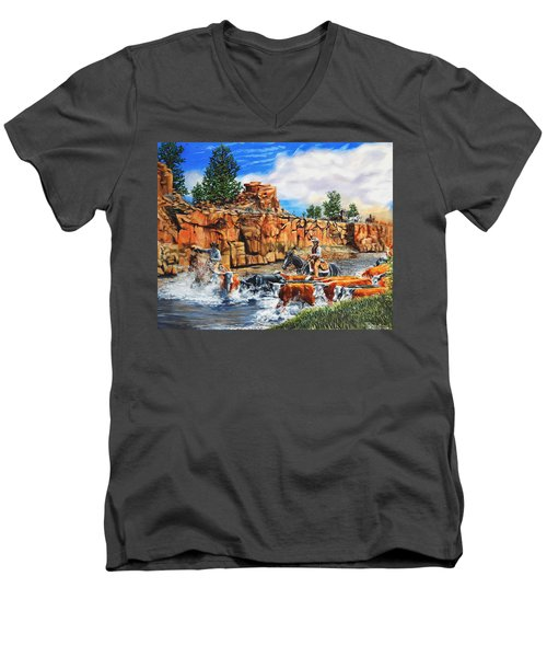Sandstone Crossing Men's V-Neck T-Shirt by Ruanna Sion Shadd a'Dann'l