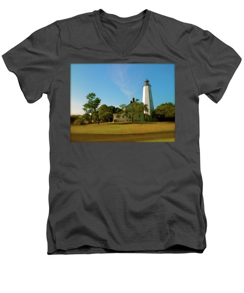 Sandy Hook Lighthouse Men's V-Neck T-Shirt by Iconic Images Art Gallery David Pucciarelli