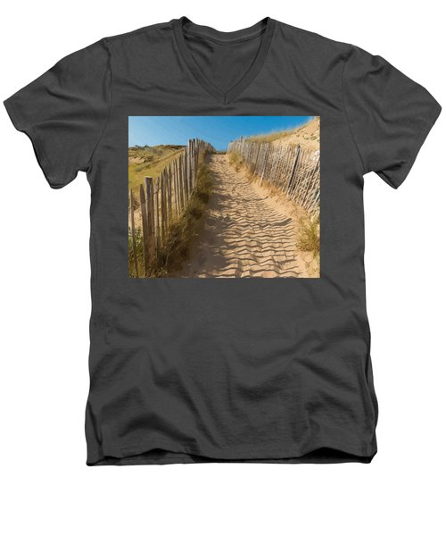 Sandy Pathway To The Beach Men's V-Neck T-Shirt