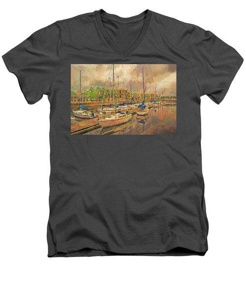 Men's V-Neck T-Shirt featuring the photograph Sanford Sailboats by Lewis Mann