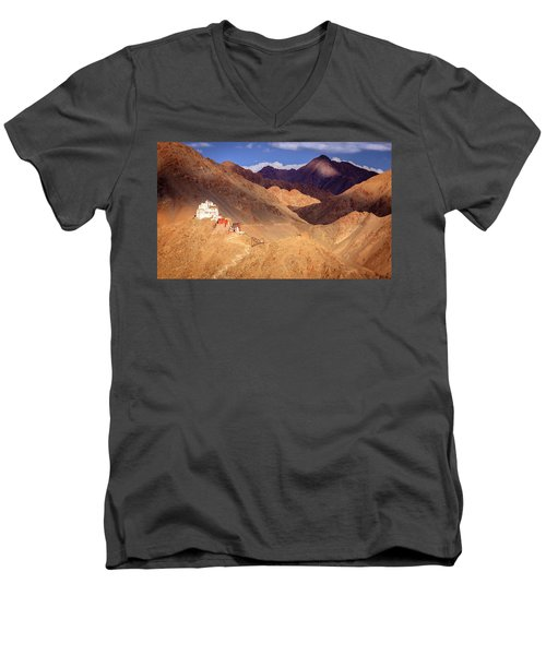 Men's V-Neck T-Shirt featuring the photograph Sankar Monastery by Alexey Stiop