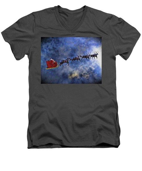 Santa And Reindeer Men's V-Neck T-Shirt by Dave Luebbert