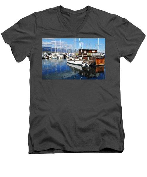 Men's V-Neck T-Shirt featuring the photograph Santa Barbara Harbor by Kyle Hanson