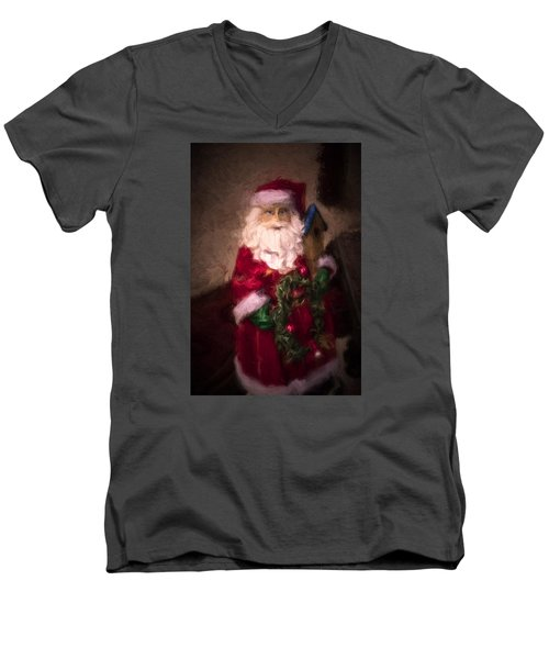 Santa Claus Men's V-Neck T-Shirt by Cathy Jourdan