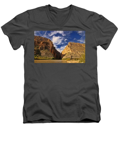 Santa Elena Canyon 3 Men's V-Neck T-Shirt by Judy Vincent