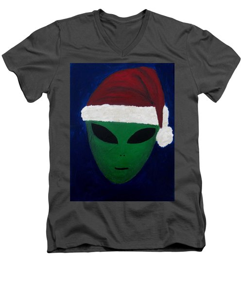 Men's V-Neck T-Shirt featuring the painting Santa Hat by Lola Connelly