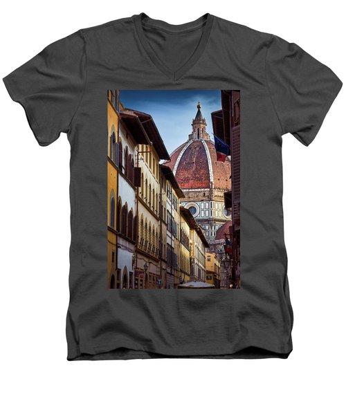 Santa Maria Del Fiore From Via Dei Servi Street In Florence, Italy Men's V-Neck T-Shirt