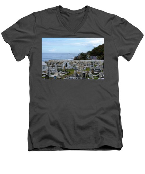 Santa Maria Magdalena De Pazzis Cemetery, Old San Juan Men's V-Neck T-Shirt by Lois Lepisto