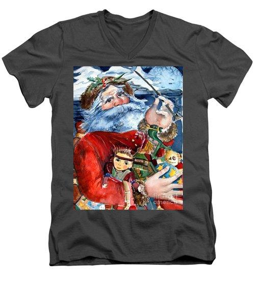Santa Men's V-Neck T-Shirt by Mindy Newman