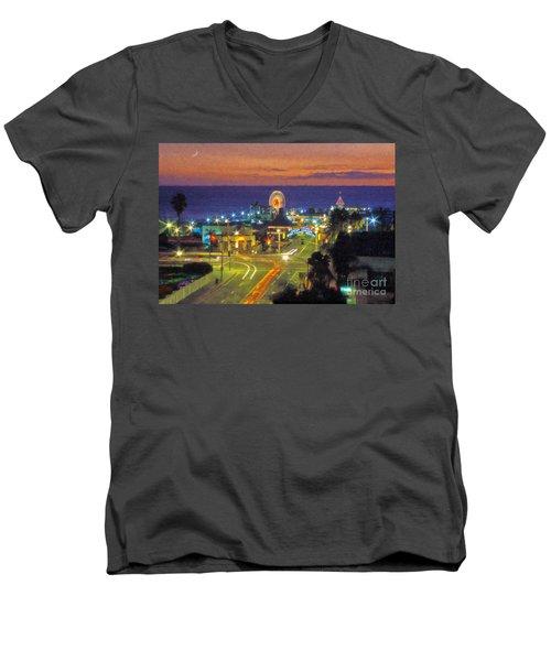 Men's V-Neck T-Shirt featuring the photograph Santa Monica Ca  Pacific Park Pier by David Zanzinger