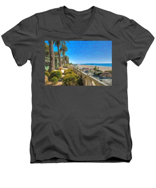 Santa Monica Ca Palisades Park Bluffs Gold Coast Luxury Houses Men's V-Neck T-Shirt