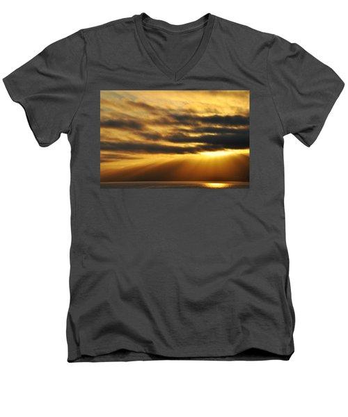 Men's V-Neck T-Shirt featuring the photograph Santa Monica Golden Hour by Kyle Hanson