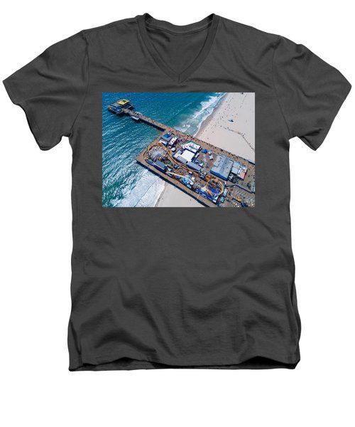 Santa Monica Pier From Above Side Men's V-Neck T-Shirt