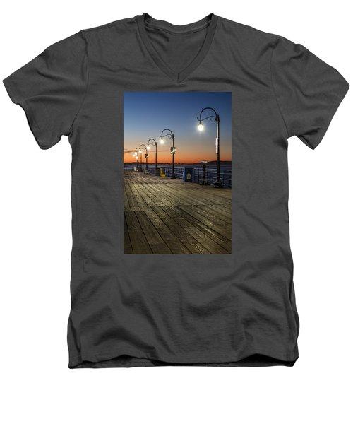 Santa Monica Pier Lights Men's V-Neck T-Shirt