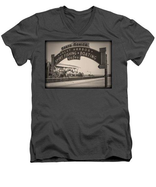 Santa Monica Sign Series Modern Vintage Men's V-Neck T-Shirt