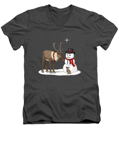 Santa Reindeer And Snowman Men's V-Neck T-Shirt