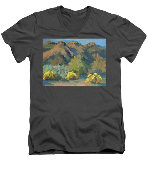 Men's V-Neck T-Shirt featuring the painting Santa Rosa Mountains And Brittle Bush by Diane McClary