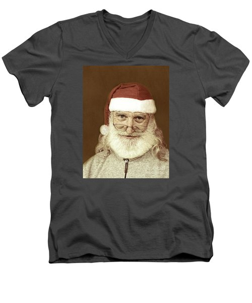 Santa's Day Off Men's V-Neck T-Shirt by Linda Phelps
