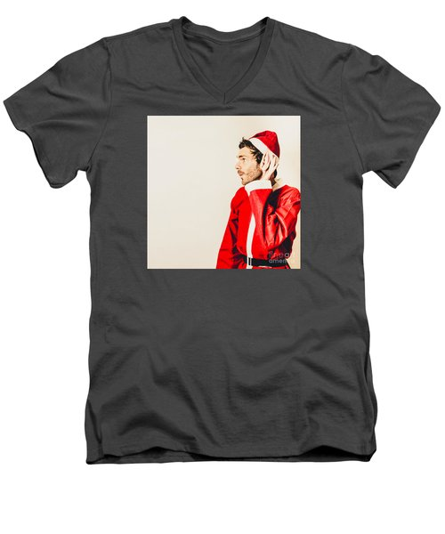Men's V-Neck T-Shirt featuring the photograph Santas Little Helper Listening To Christmas Orders by Jorgo Photography - Wall Art Gallery