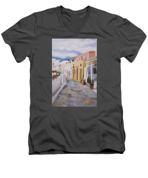 Men's V-Neck T-Shirt featuring the painting Santorini Cloudy Day by Teresa Beyer