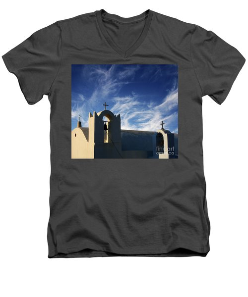 Men's V-Neck T-Shirt featuring the photograph Santorini Greece Architectual Line 3 by Bob Christopher