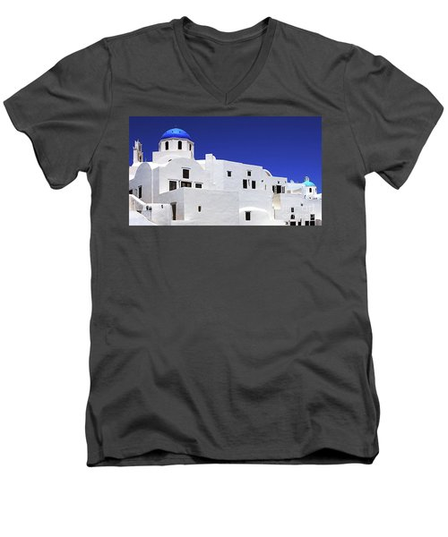 Men's V-Neck T-Shirt featuring the photograph Santorini Greece Architectual Line 6 by Bob Christopher
