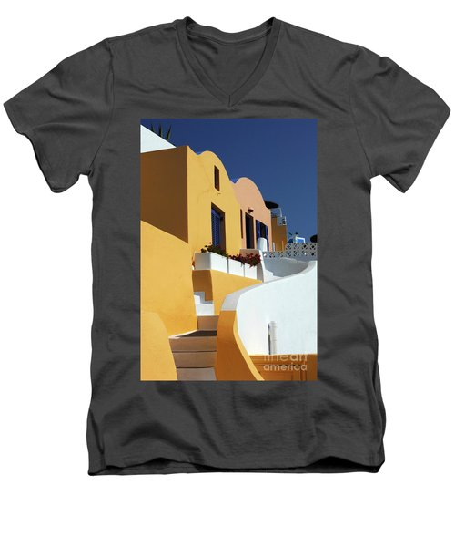 Men's V-Neck T-Shirt featuring the photograph Santorini Greece Architectual Line by Bob Christopher