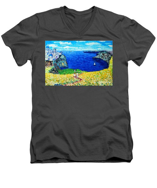 Santorini Honeymoon Men's V-Neck T-Shirt by Ana Maria Edulescu