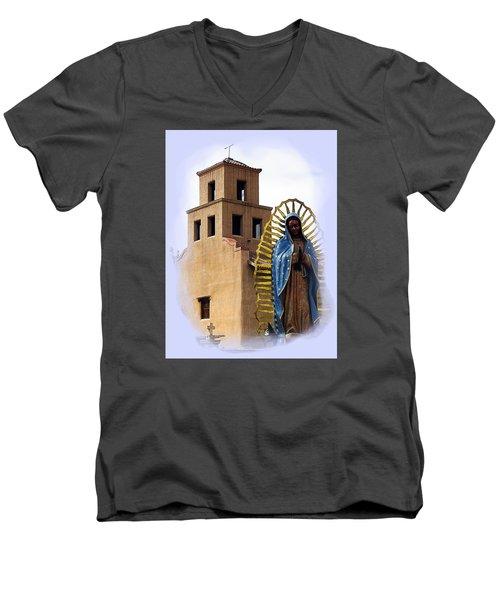 Men's V-Neck T-Shirt featuring the photograph Santuario De Guadalupe Santa Fe New Mexico by Kurt Van Wagner