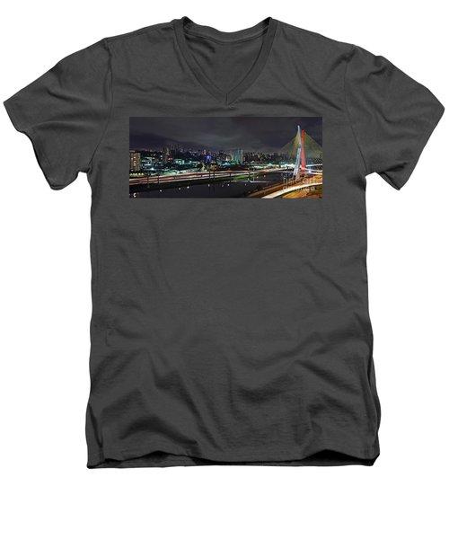 Sao Paulo Skyline - Ponte Estaiada Octavio Frias De Oliveira Wit Men's V-Neck T-Shirt