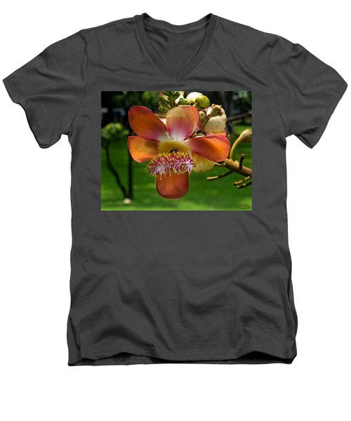 Sara Tree Flower Dthb104 Men's V-Neck T-Shirt