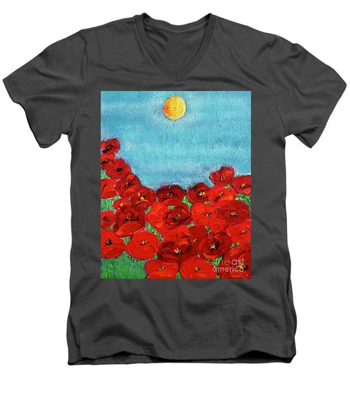 Sarah's Poppies Men's V-Neck T-Shirt