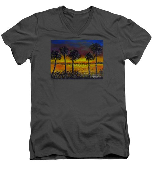 Men's V-Neck T-Shirt featuring the painting Sarasota Bayfront Sunset by Lou Ann Bagnall