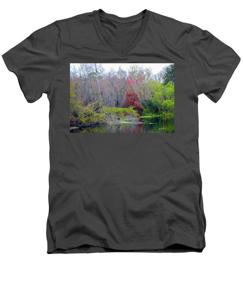 Men's V-Neck T-Shirt featuring the photograph Sarasota Reflections by Madeline Ellis