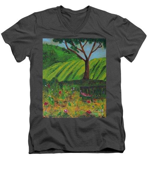 Saratoga Hills Men's V-Neck T-Shirt by Haleh Mahbod