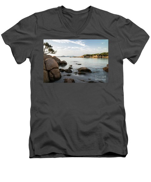 Sardinian Coast Men's V-Neck T-Shirt by Yuri Santin