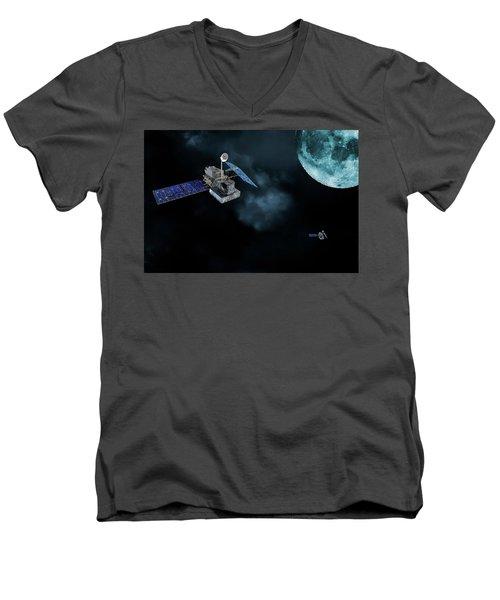 Satellites In Orbit Around The Moon Men's V-Neck T-Shirt