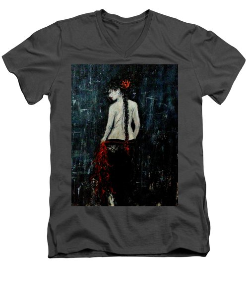 Men's V-Neck T-Shirt featuring the painting Saturday Evening  by Cristina Mihailescu