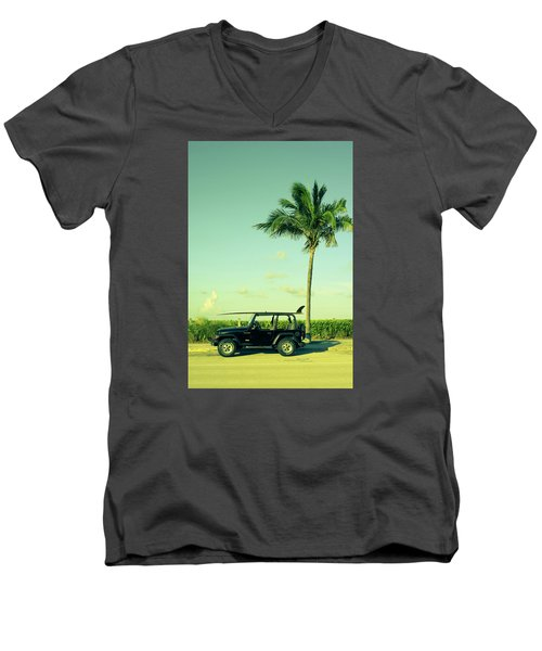 Men's V-Neck T-Shirt featuring the photograph Saturday by Laura Fasulo