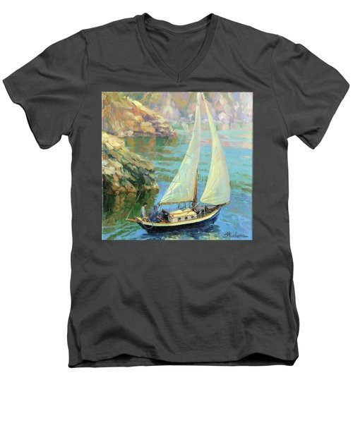 Men's V-Neck T-Shirt featuring the painting Saturday by Steve Henderson