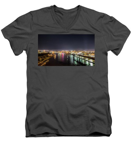 Savannah Georgia Skyline Men's V-Neck T-Shirt by Robert Loe
