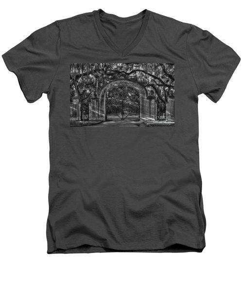 Men's V-Neck T-Shirt featuring the photograph Savannah's Wormsloe Plantation Gate Bw Live Oak Alley Art by Reid Callaway