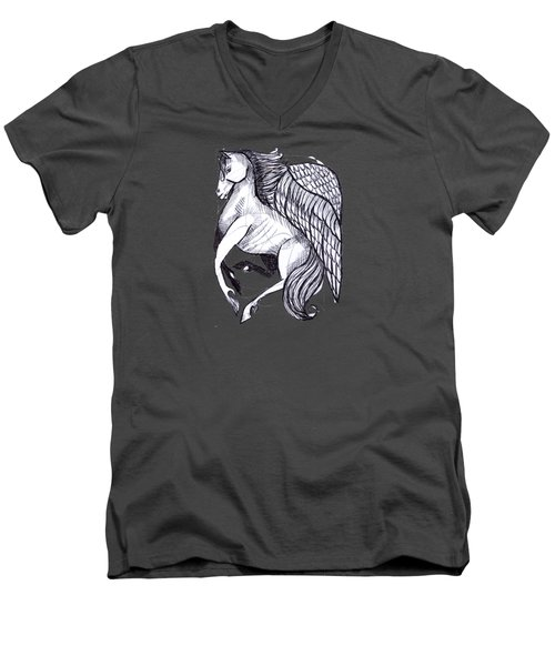 Save The Wild Mustangs Men's V-Neck T-Shirt by Joanna Whitney