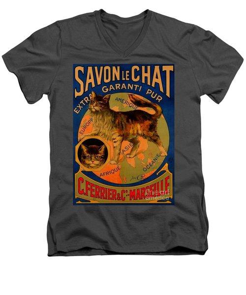 Savon Le Chat Antique French Poster Men's V-Neck T-Shirt