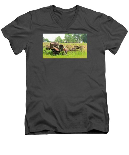 Saw Better Days Men's V-Neck T-Shirt by Jeanette Oberholtzer