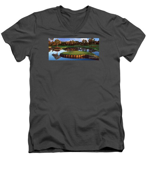 Sawgrass 17th Hole Hol Men's V-Neck T-Shirt by Tim Gilliland