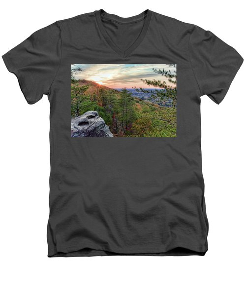 Sawnee Mountain And The Indian Seats Men's V-Neck T-Shirt